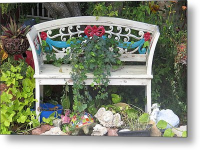 Metal Print featuring the photograph Beauty And The Bench by Ella Kaye Dickey