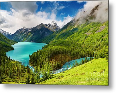Beauty Mointain And Lake Metal Print by Boon Mee