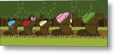 Beaver Family Walk Metal Print by Christy Beckwith