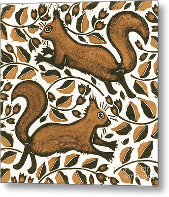 Beechnut Squirrels Metal Print by Nat Morley