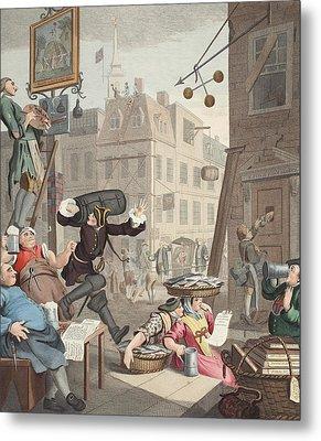 Beer Street, Illustration From Hogarth Metal Print