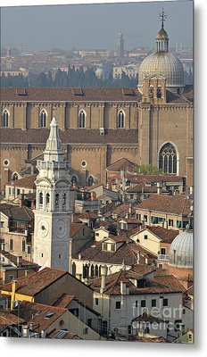 Bell Tower Of Santa Maria Formosa And Red Tiled Roofs Metal Print