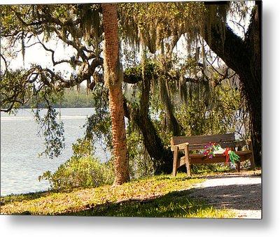 Bench By The Lake Metal Print by Rosalie Scanlon