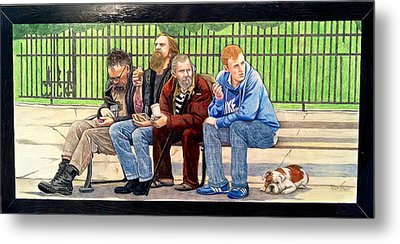 Bench People Series-the Guys  Metal Print by Betsy Frahm