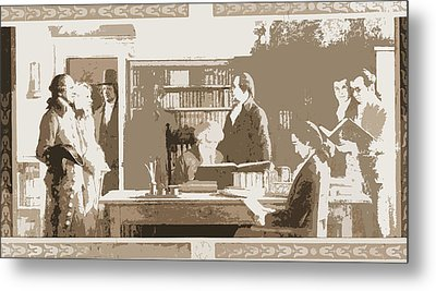 Benjamin Franklin Opening First Subscription Library Metal Print by Litz Collection