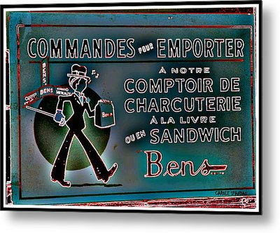 Ben's Deli Restaurant Fameux Comptoir Charcuterie Smoked Meat Take-0ut Montreal Memorabilia Metal Print by Carole Spandau