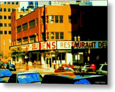 Ben's Restaurant Vintage Montreal Landmarks Nostagic Memories And Scenes Of A By Gone Era Metal Print by Carole Spandau