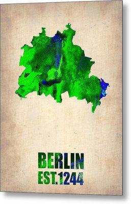 Berlin Watercolor Map Metal Print by Naxart Studio