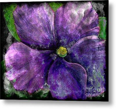 Big African Violet - Purple Flower - Steel Engraving Metal Print by Barbara Griffin
