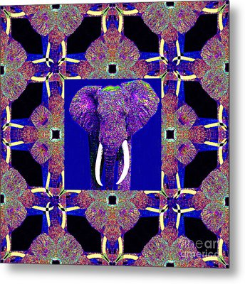 Big Elephant Abstract Window 20130201m118 Metal Print by Wingsdomain Art and Photography