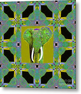 Big Elephant Abstract Window 20130201p60 Metal Print by Wingsdomain Art and Photography