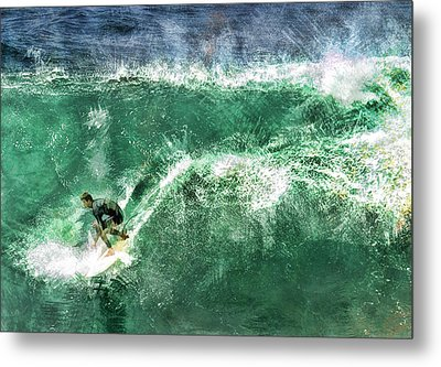 Big Wave Surfing Metal Print by Elaine Plesser