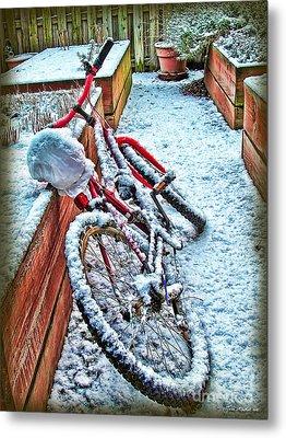 Bike In Winter Metal Print by Joan  Minchak