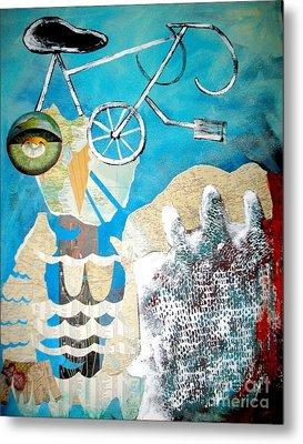Bike Owl Metal Print