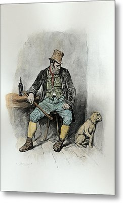 Bill Sykes And His Dog, From Charles Metal Print