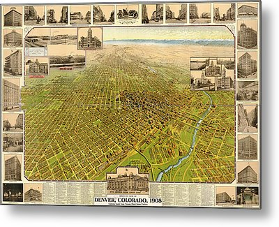 Birdseye Map Of Denver Colorado - 1908 Metal Print
