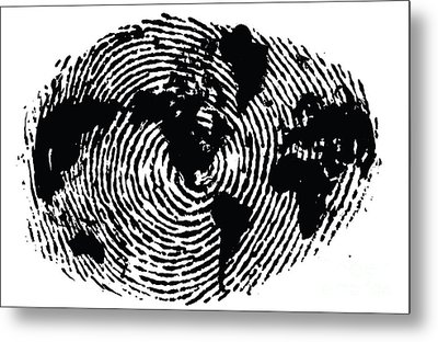 black and white ink print poster One of a Kind Global Fingerprint Metal Print by Sassan Filsoof