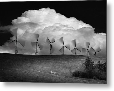 Black And White Of Wind Generators With Metal Print by Don Hammond