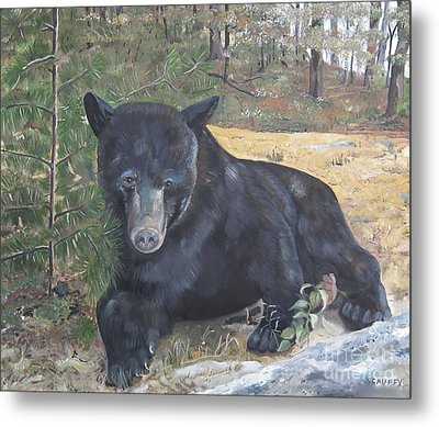 Black Bear - Wildlife Art -scruffy Metal Print by Jan Dappen