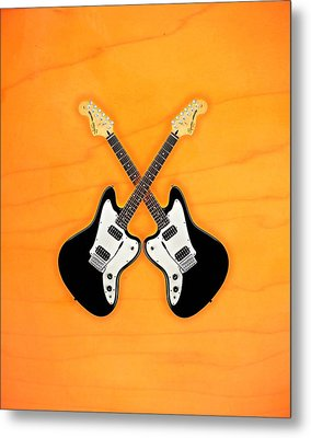 Black Fender Jaguar  Guitar Metal Print by Doron Mafdoos