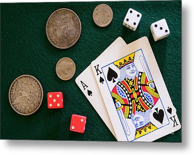 Black Jack And Silver Dollars Metal Print by Paul Ward