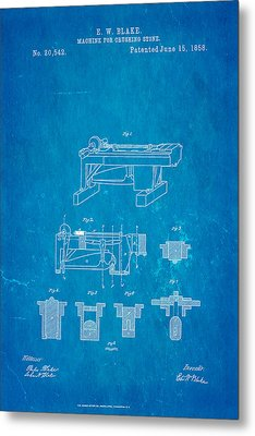 Blake Stone Crushing Patent 1858 Blueprint Metal Print by Ian Monk