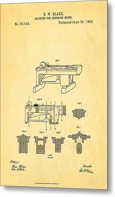 Blake Stone Crushing Patent 1858 Metal Print by Ian Monk