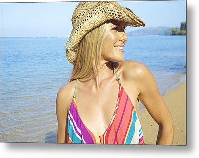 Blonde Woman In Hawaii Metal Print by Kicka Witte