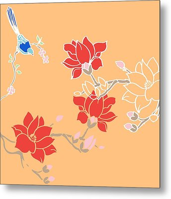 Blossom Birds Metal Print