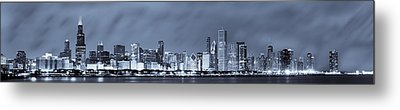 Blue Chicago Skyline Metal Print by Sebastian Musial