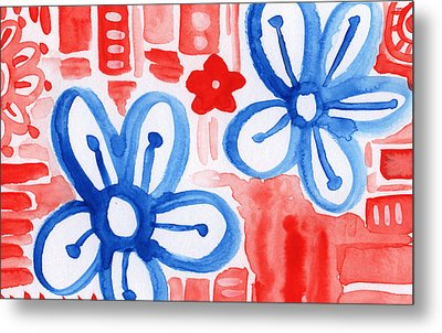 Blue Flowers- Floral Painting Metal Print