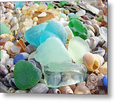 Blue Green Sea Glass Coastal Art Metal Print by Baslee Troutman