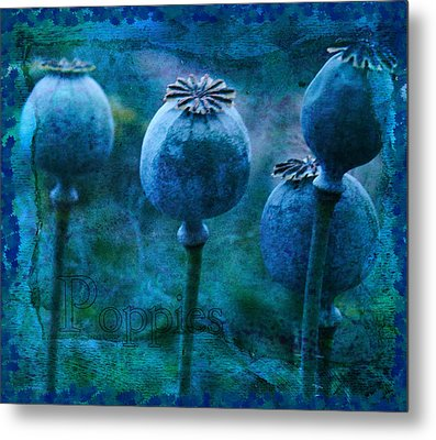 Metal Print featuring the photograph Blue Poppy Grunge by Sandra Foster