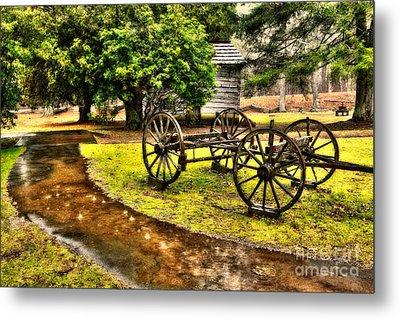 Blue Ridge Parkway Vintage Wagon In The Rain II Metal Print by Dan Carmichael