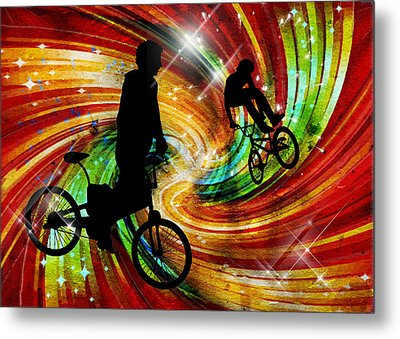 Bmxers In Red And Orange Grunge Swirls Metal Print