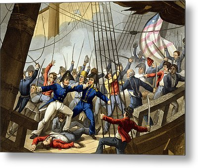 Boarding And Taking The American Ship Metal Print