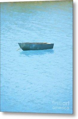 Boat On Blue Lake Metal Print by Pixel Chimp