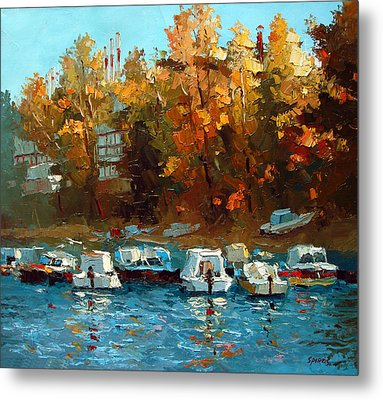 Metal Print featuring the painting Boat On The Waterfront by Dmitry Spiros
