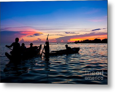 Boat Silhouettes Angkor Cambodia Metal Print