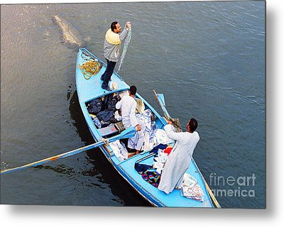 Metal Print featuring the photograph Boat Vendors by Cassandra Buckley