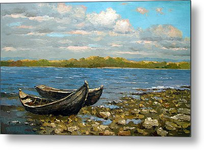 Metal Print featuring the painting Boats On The River by Dmitry Spiros