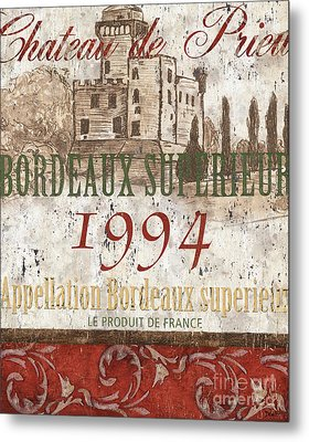 Bordeaux Blanc Label 2 Metal Print by Debbie DeWitt