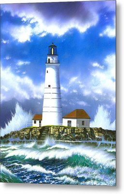 Boston Light Metal Print by MGL Studio - Chris Hiett