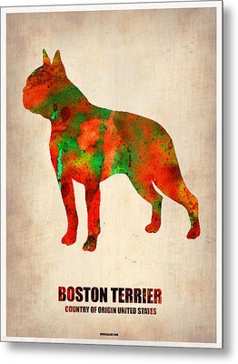 Boston Terrier Poster Metal Print by Naxart Studio
