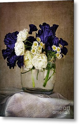 Bouquet Of Irises Roses And Daises  Metal Print by Elena Nosyreva