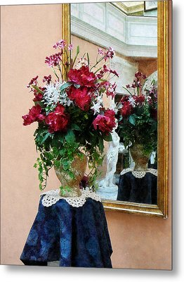 Bouquet Of Peonies With Reflection Metal Print by Susan Savad