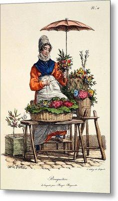 Bouquetiere Des Bouquets Pour Margot Metal Print by Carle Vernet