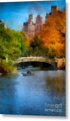 Bow Bridge Central Park Metal Print by Amy Cicconi