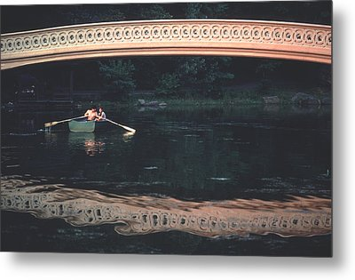 Bow Bridge Rowboat Central Park Metal Print by Tom Wurl