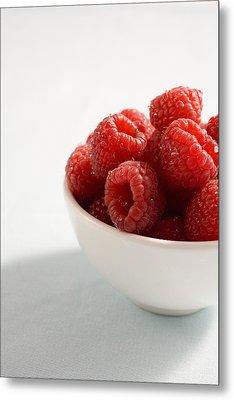 Bowl Of Raspberries Metal Print by Greg Huszar Photography